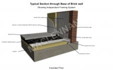 Typical Section through Base of Solid Brick Wall with Underfloor Heating