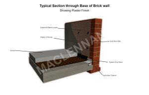Base of Brick wall 20mm Plaster WM