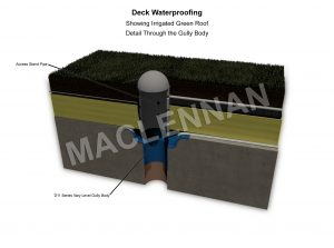 3d drawing showing irrigated green roof detail through the gully body