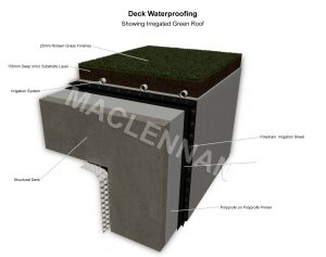 3d drawing Irrigated irregated green roof deck waterproofing no insulation