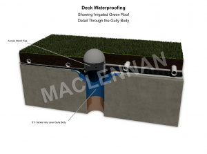 Irrigated green roof deck waterproofing no insulation 3d drawing