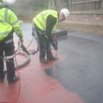 maclennan engineers applying polyprufe spray deck waterproofing hampstead
