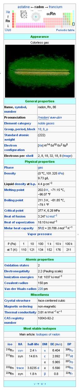 Radon Gas Properties