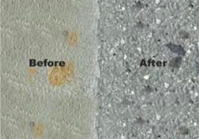 before and after adequate surface preparation