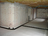 Cavity membrane system installed over historic basement walls