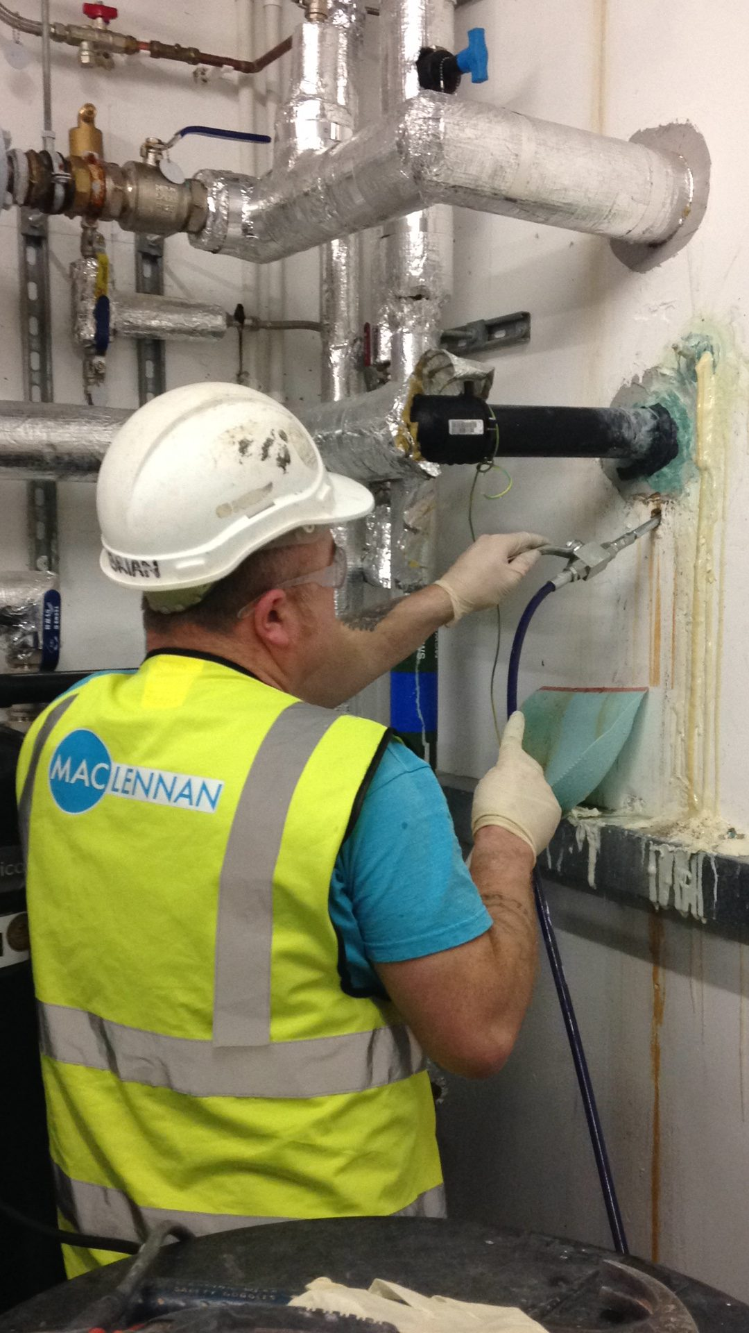 injecting resin to stop leaks